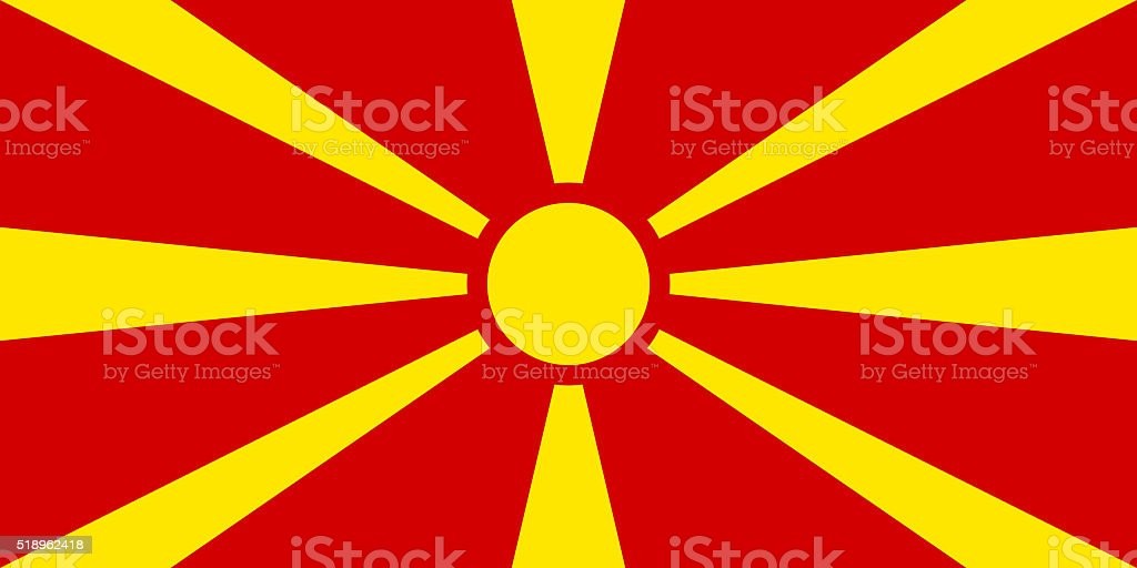 Flag of Macedonia - authentic version stock photo