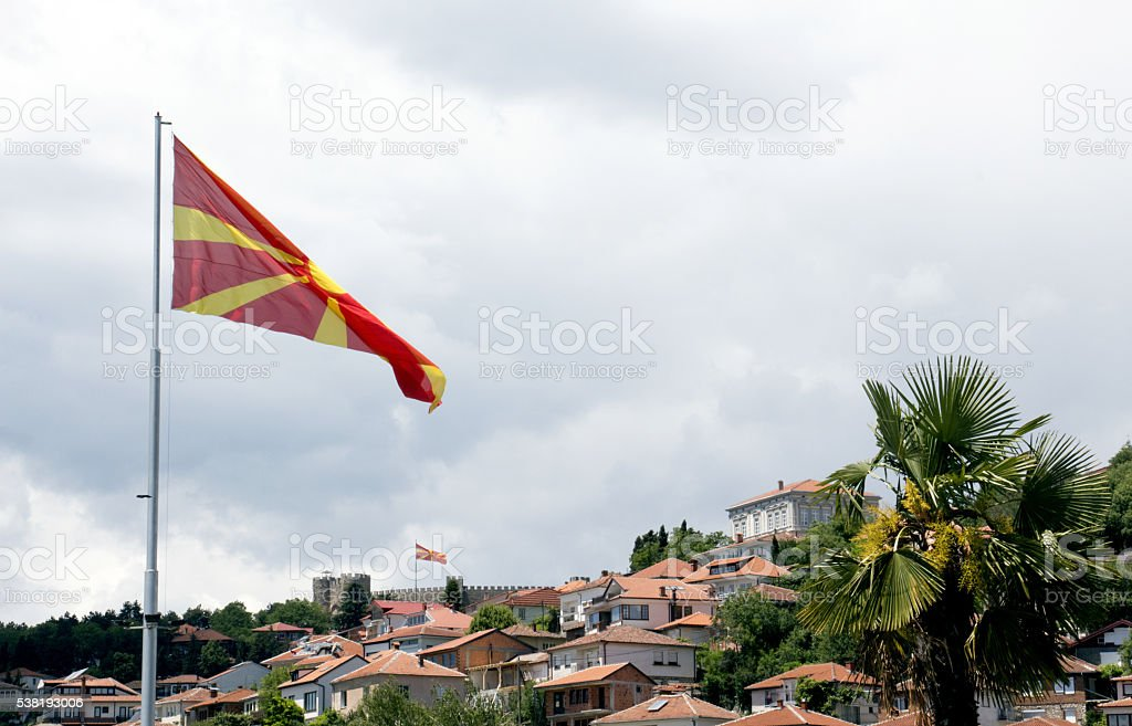 flag of macedonia in ohrid stock photo