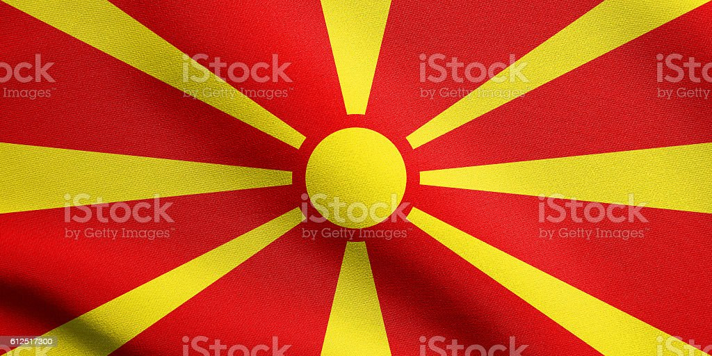 Flag of Macedonia waving with fabric texture stock photo
