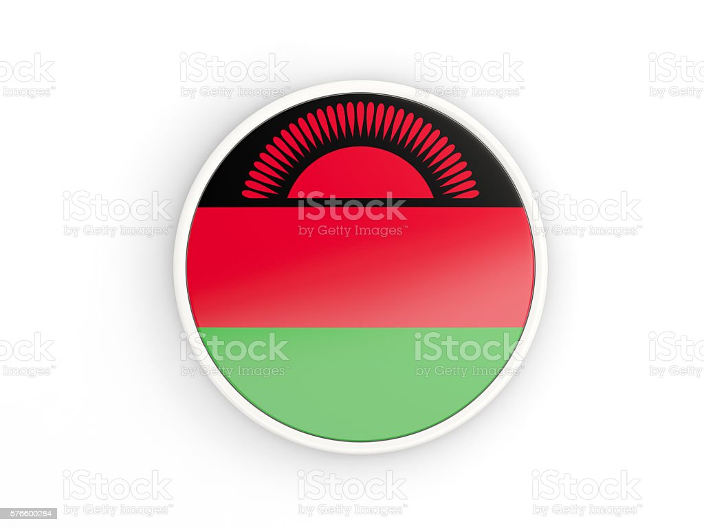 Flag of malawi. Round icon with frame stock photo