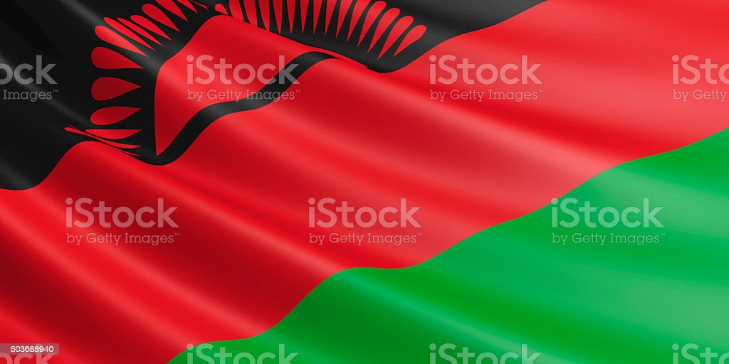 Flag of Malawi waving in the wind. stock photo