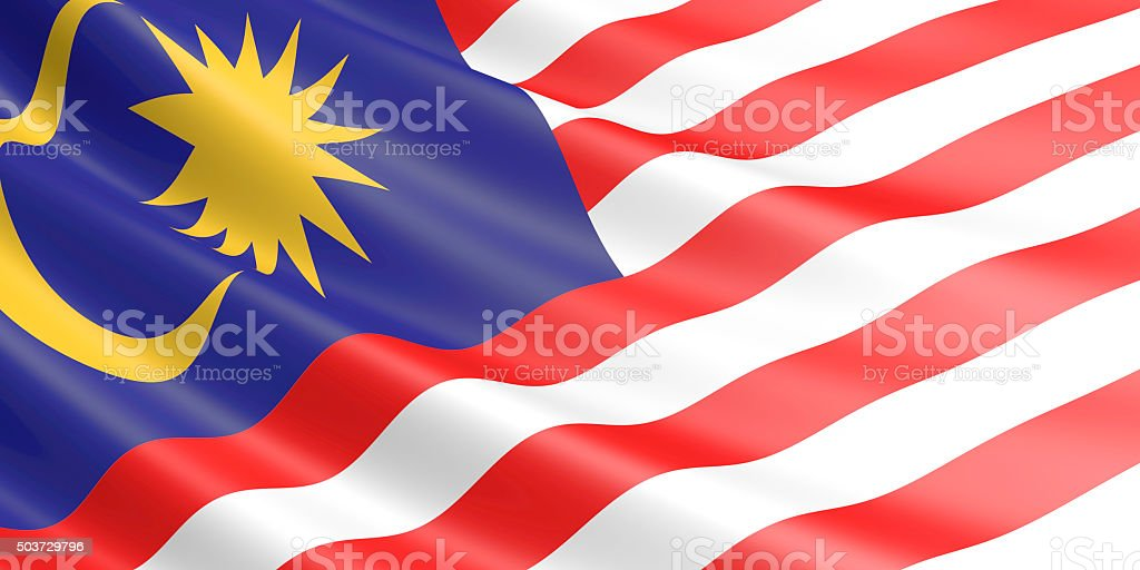 Flag of Malaysia waving in the wind. royalty-free stock vector art