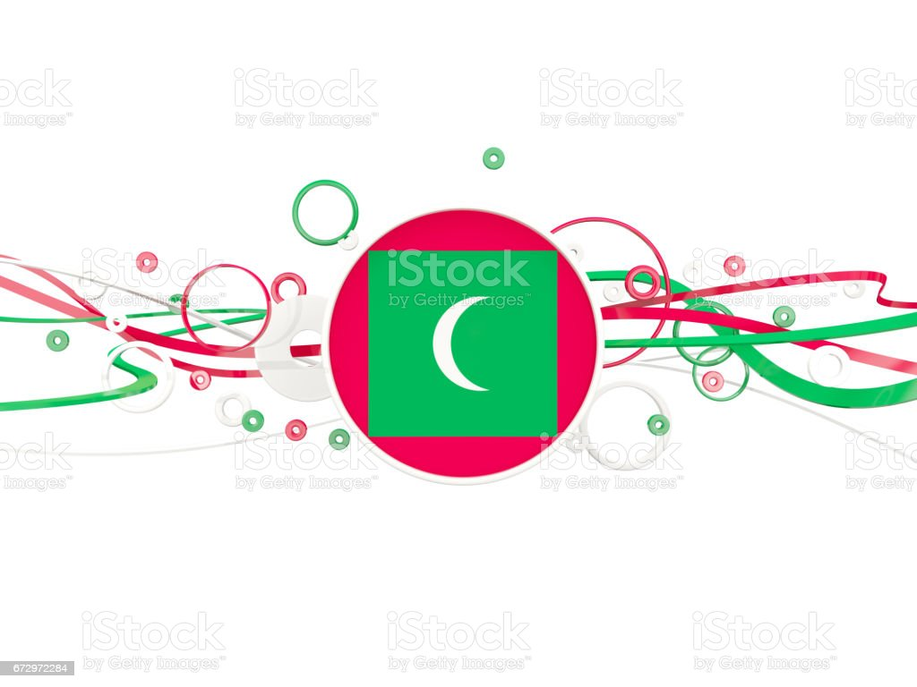 Flag of maldives, circles pattern with lines stock photo