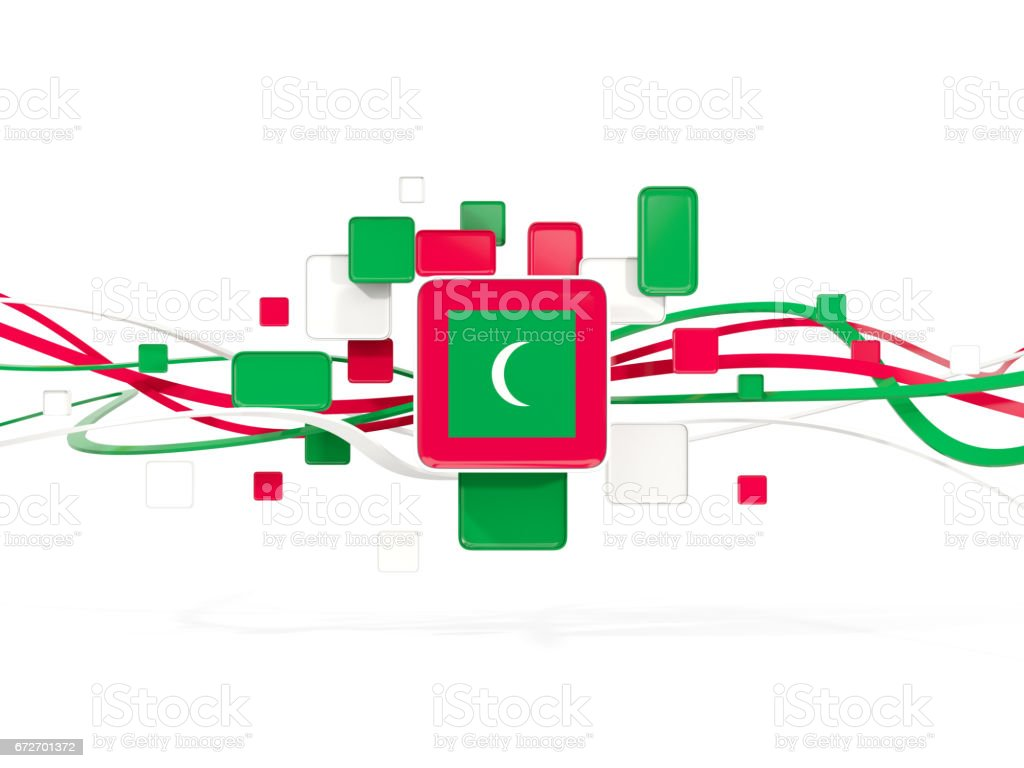Flag of maldives, mosaic background with lines stock photo