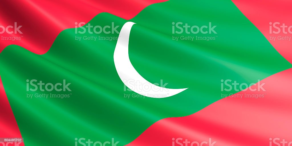 Flag of Maldives waving in the wind. royalty-free stock vector art