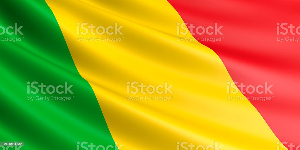 Flag of Mali waving in the wind. royalty-free stock vector art