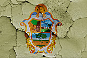 flag of Manaus painted on cracked wall