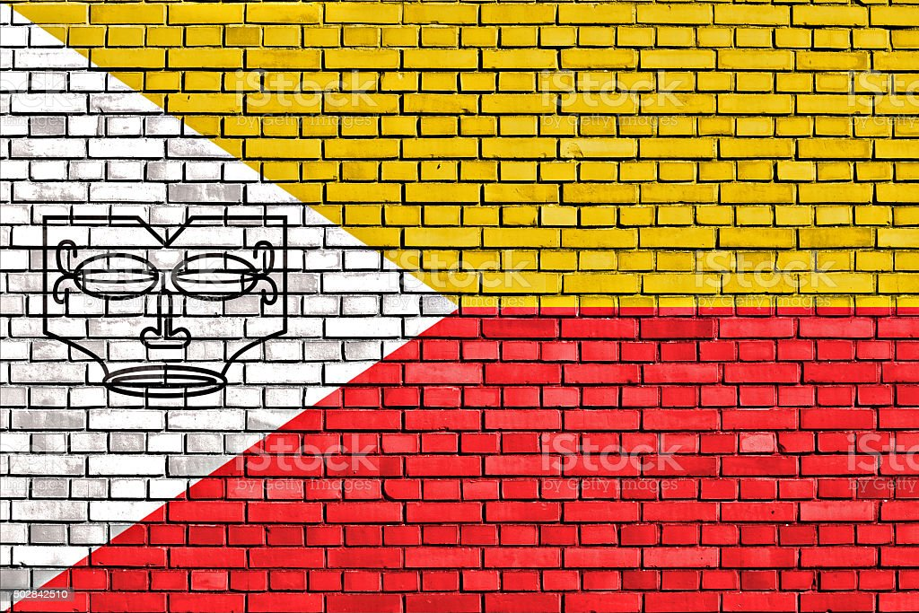 flag of Marquesas Islands painted on brick wall stock photo