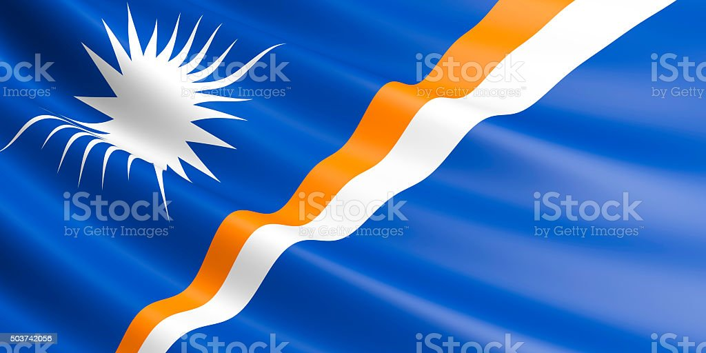 Flag of Marshall Islands waving in the wind. royalty-free stock vector art