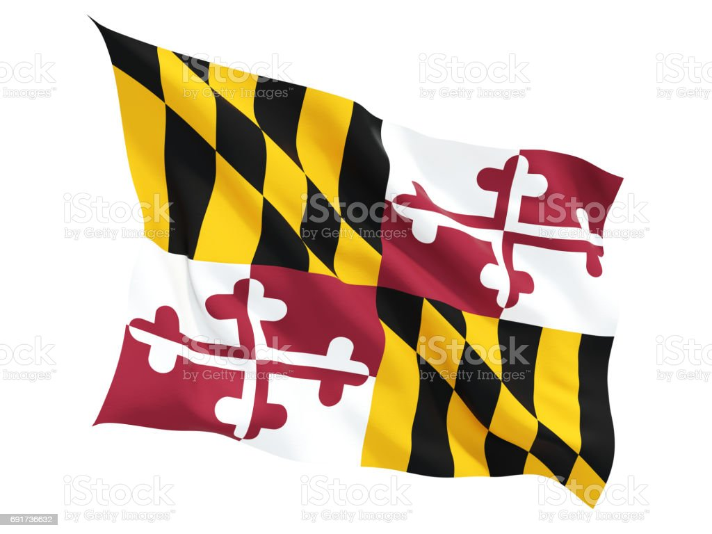 Flag of maryland, US state fluttering flag stock photo