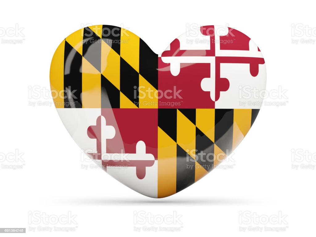 Flag of maryland, US state heart icon stock photo