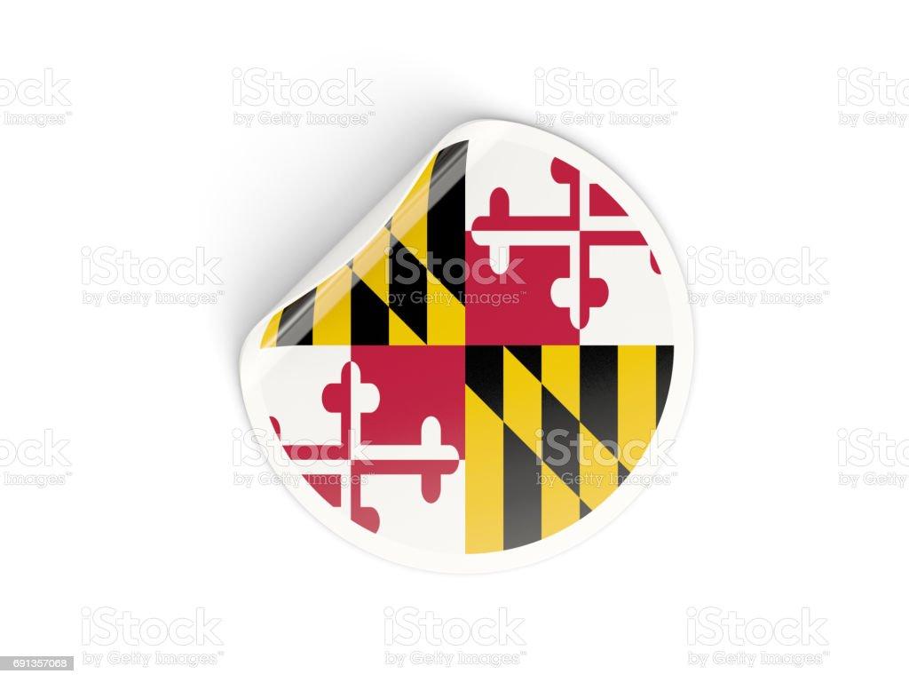 Flag of maryland, US state round sticker stock photo