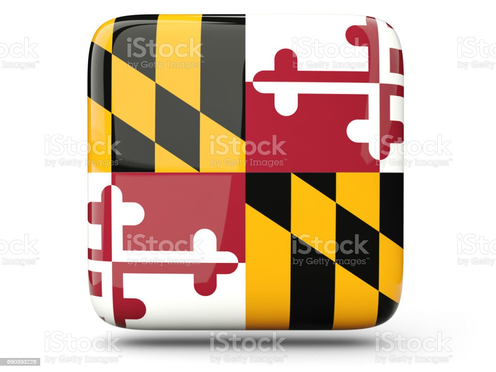 Flag of maryland, US state square icon stock photo