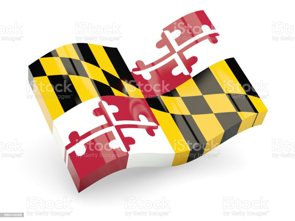 Flag of maryland, US state wave icon stock photo