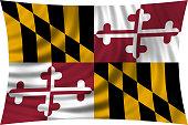 Flag of Maryland waving isolated on white