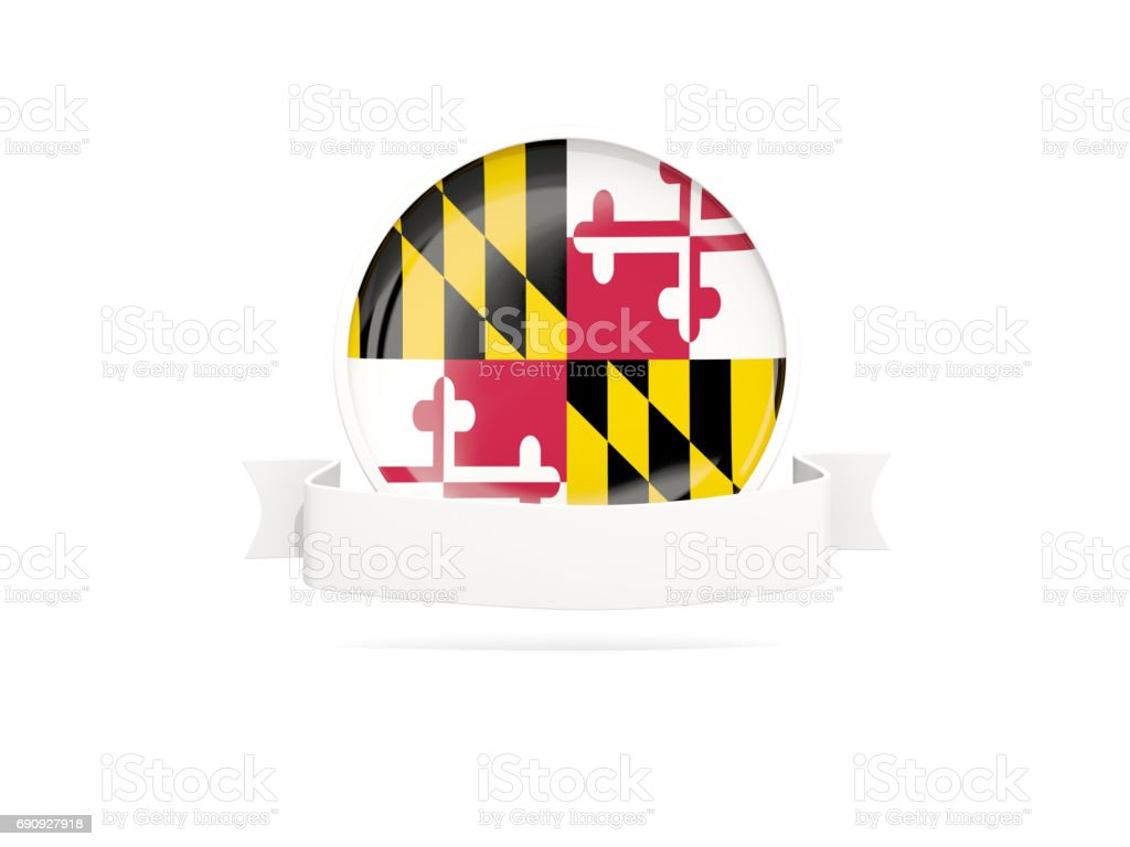 Flag of maryland with banner, US state round icon stock photo