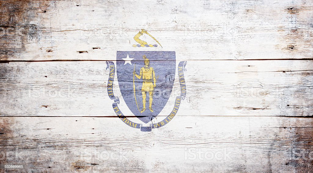 Flag of Massachusetts stock photo