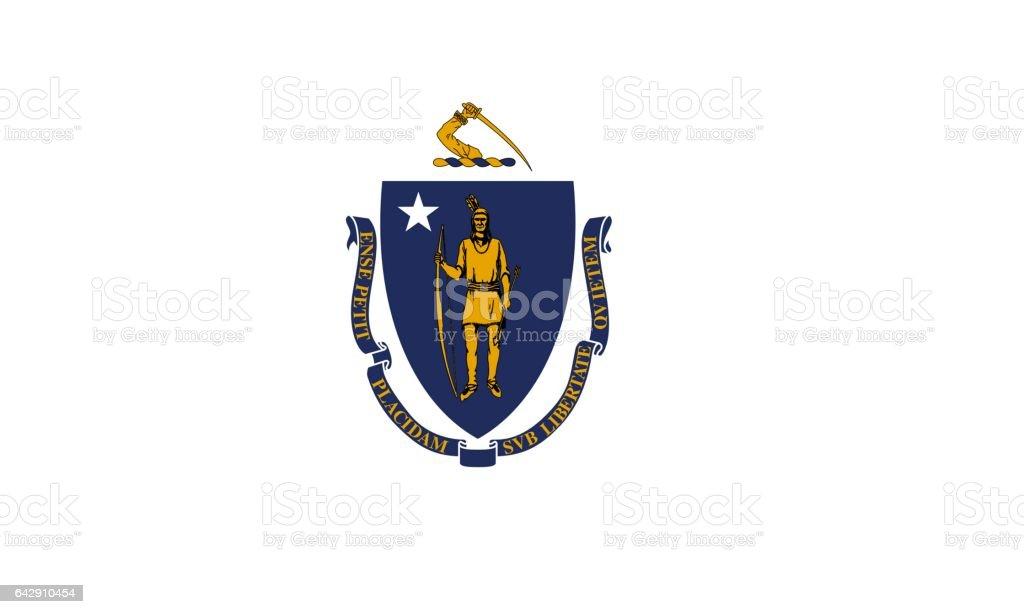 US flag of Massachusetts stock photo