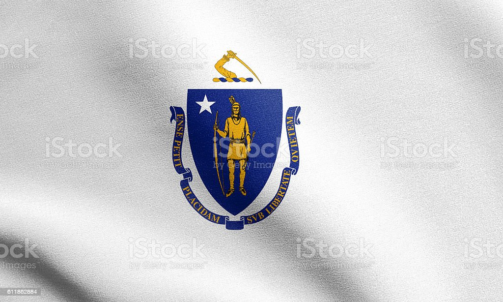 Flag of Massachusetts waving with fabric texture stock photo