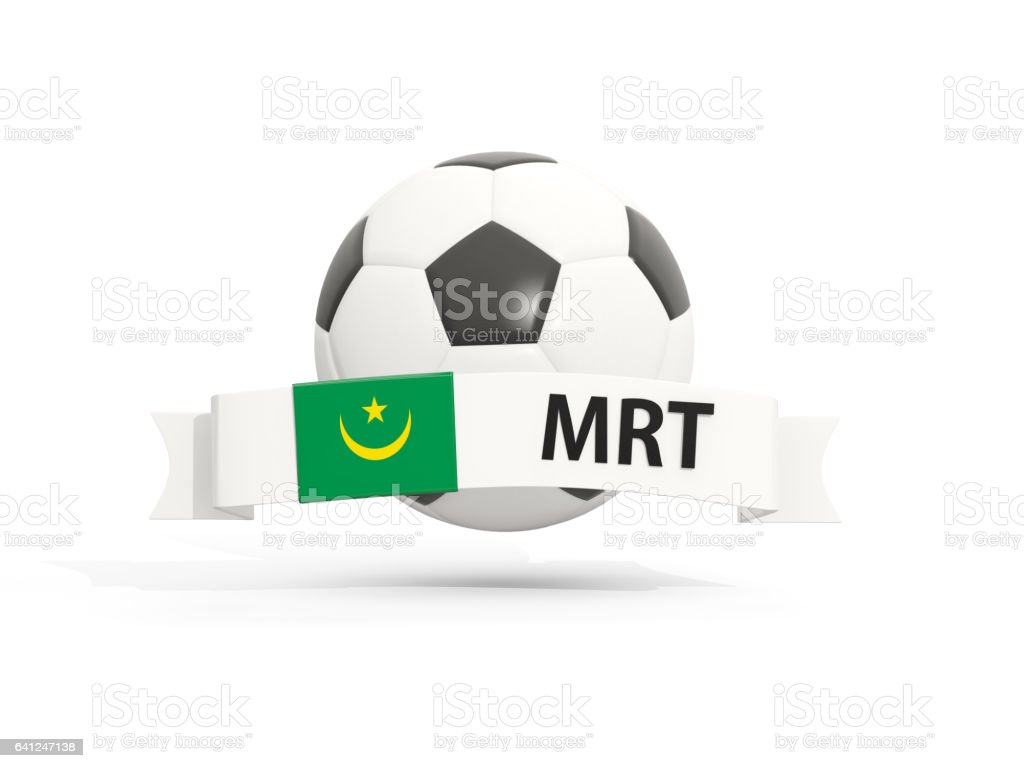 Flag of mauritania, football with banner and country code stock photo