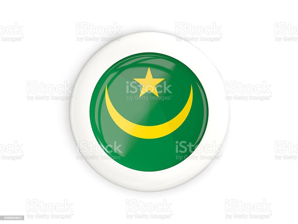 Flag of mauritania, glossy round button stock photo