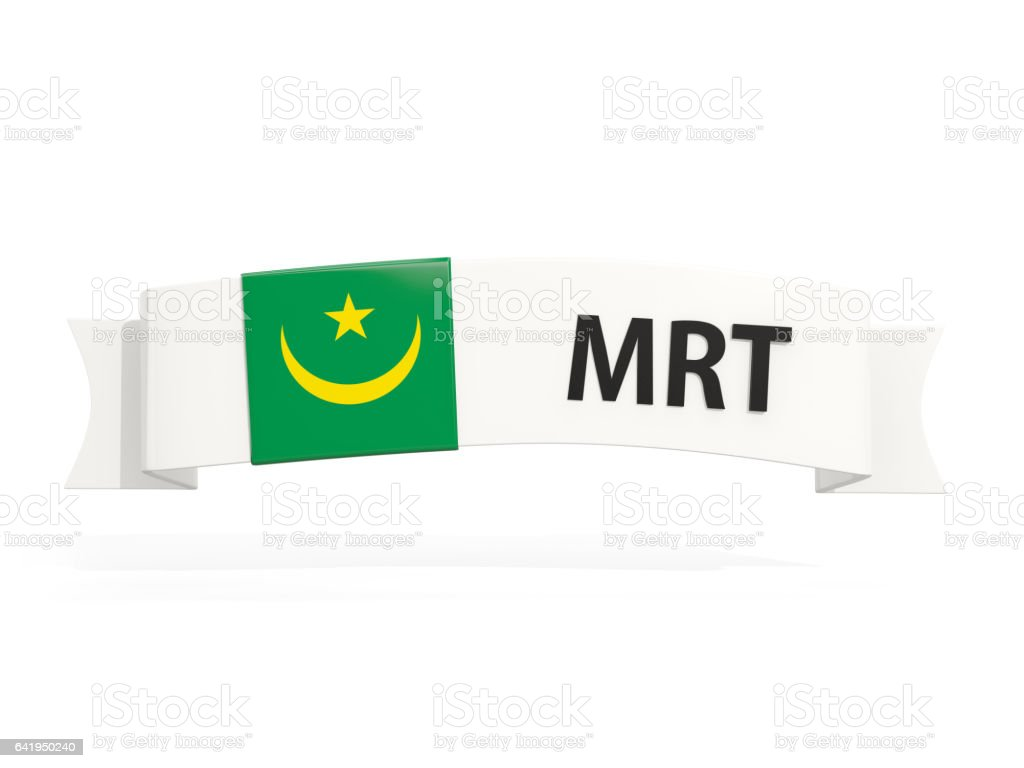 Flag of mauritania on banner stock photo