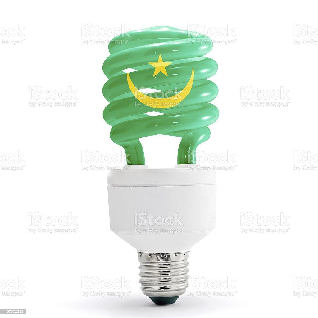 Flag Of Mauritania On Bulb royalty-free stock photo
