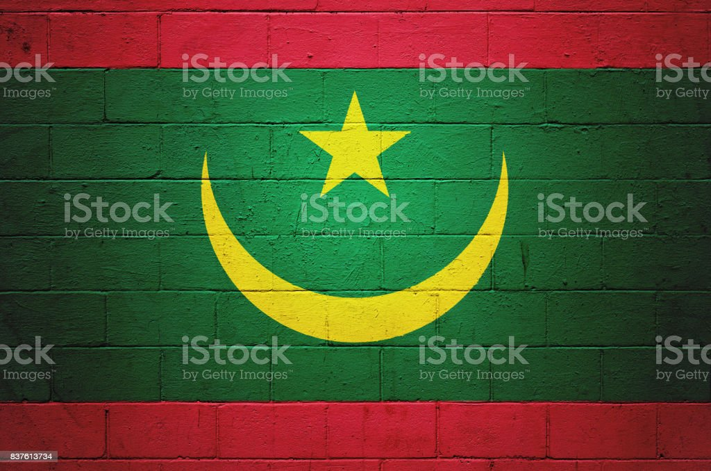 Flag of Mauritania painted on a wall stock photo
