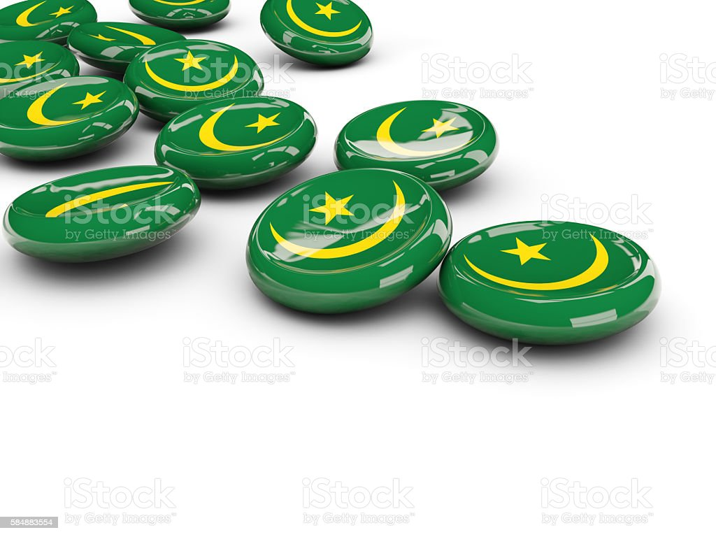Flag of mauritania, round buttons stock photo