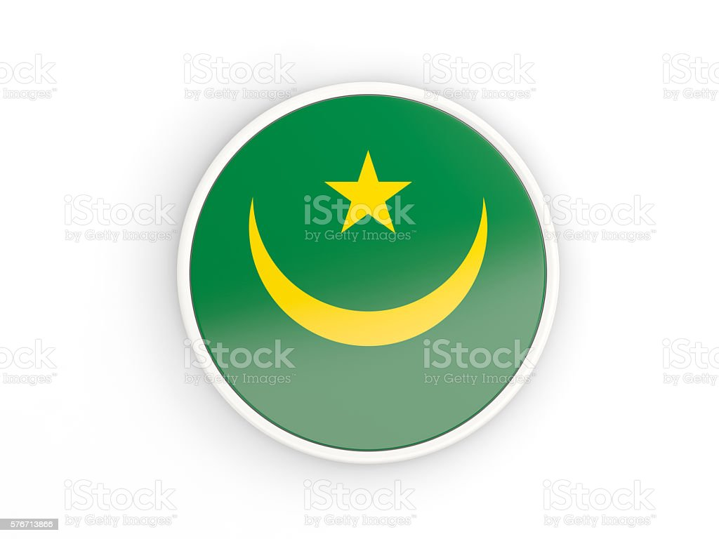 Flag of mauritania. Round icon with frame stock photo