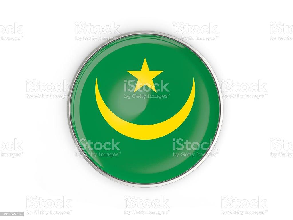 Flag of mauritania, round icon with metal frame stock photo