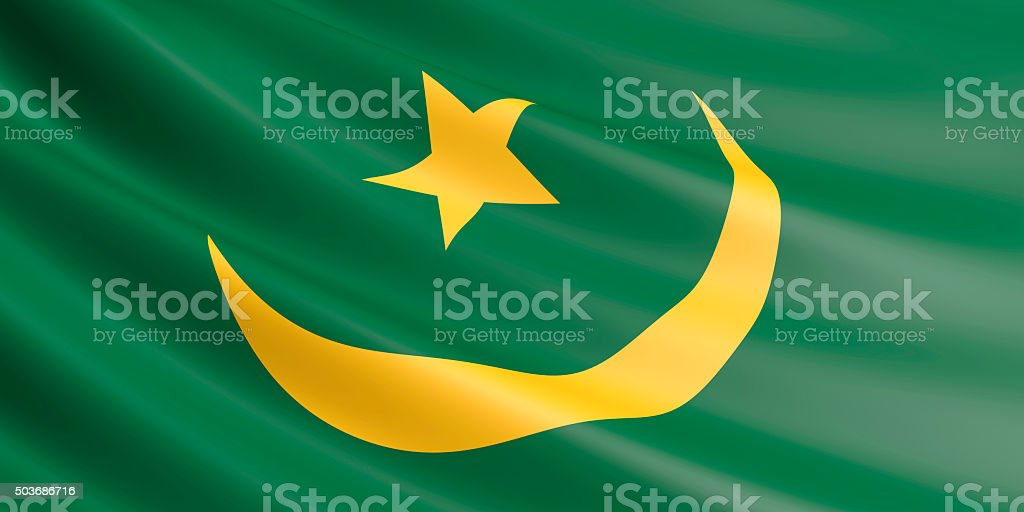 Flag of Mauritania waving in the wind. royalty-free stock photo