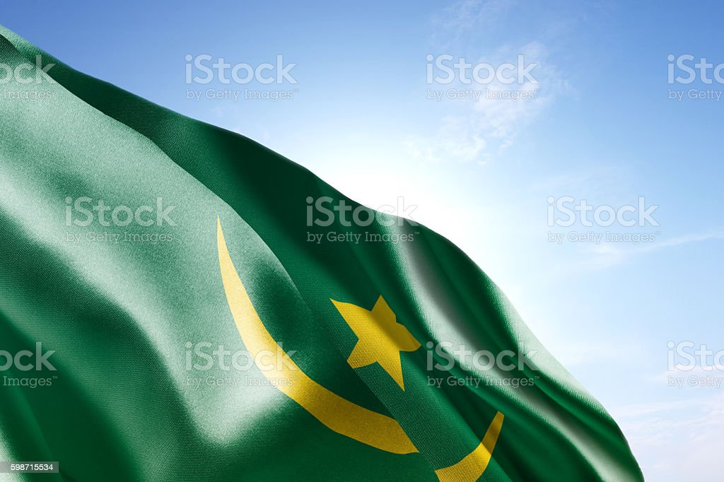 Flag of Mauritania waving in the wind stock photo