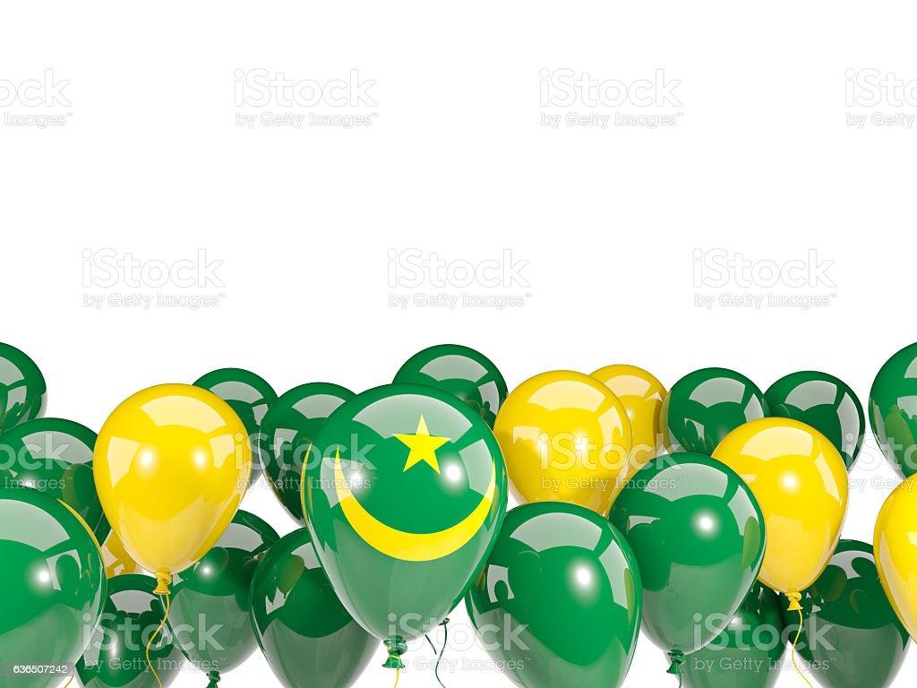 Flag of mauritania with balloons stock photo