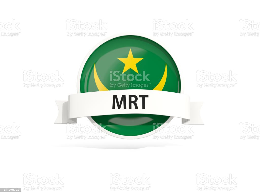 Flag of mauritania with banner stock photo