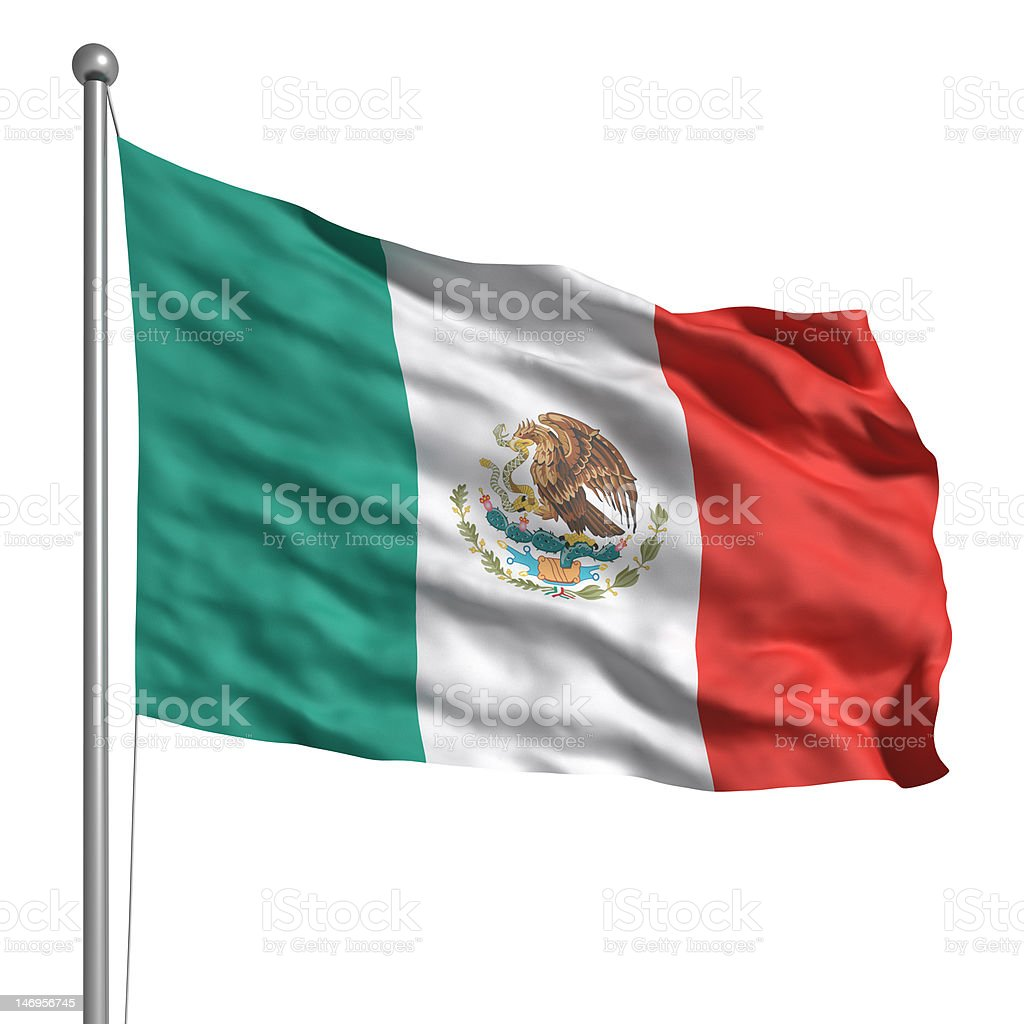 Flag of Mexico (Isolated) royalty-free stock photo