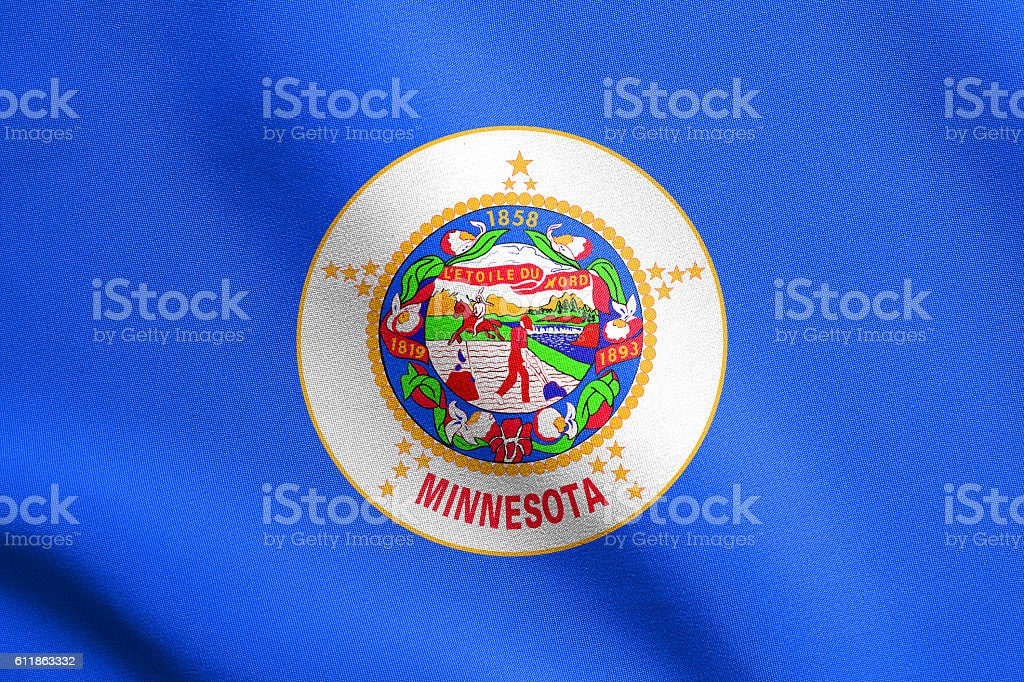 Flag of Minnesota waving with fabric texture stock photo