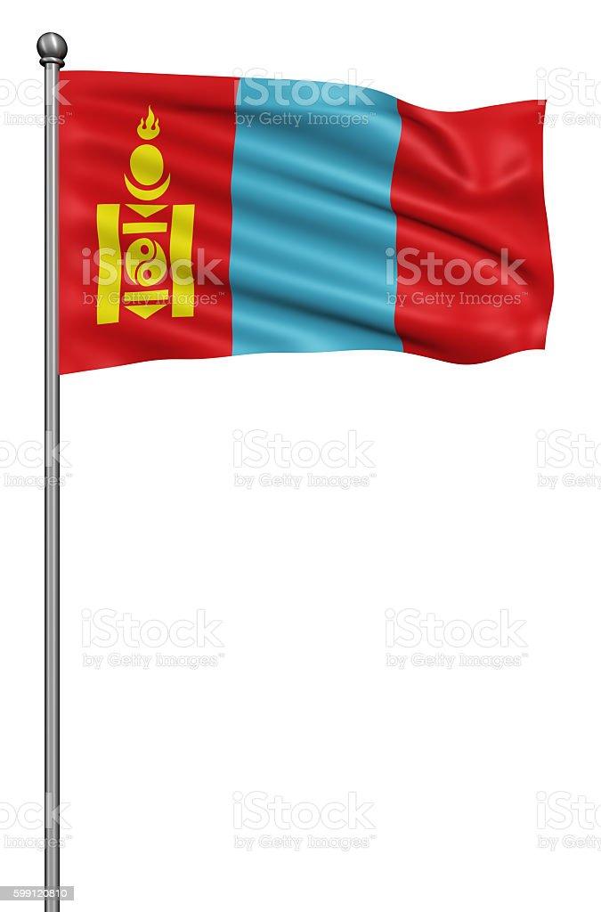 Flag of Mongolia against white background. stock photo