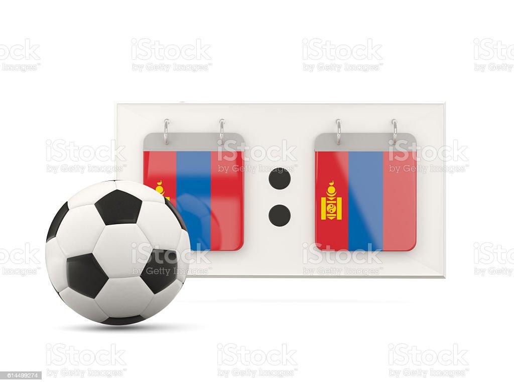 Flag of mongolia, football with scoreboard stock photo