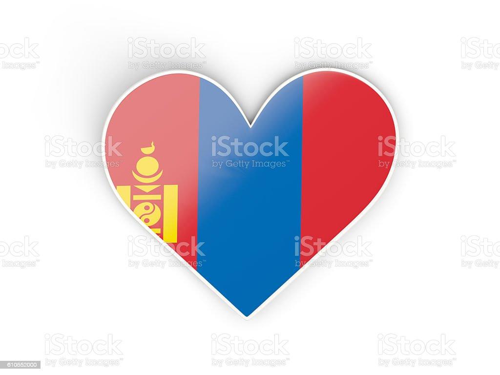 Flag of mongolia, heart shaped sticker stock photo