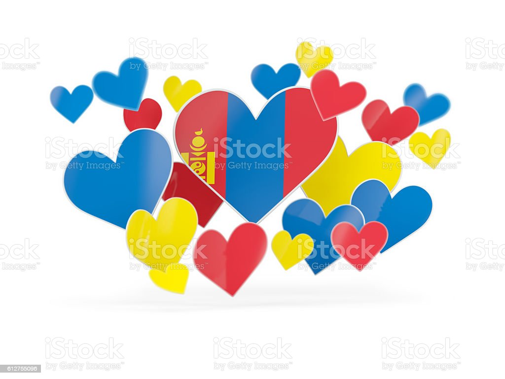 Flag of mongolia, heart shaped stickers stock photo