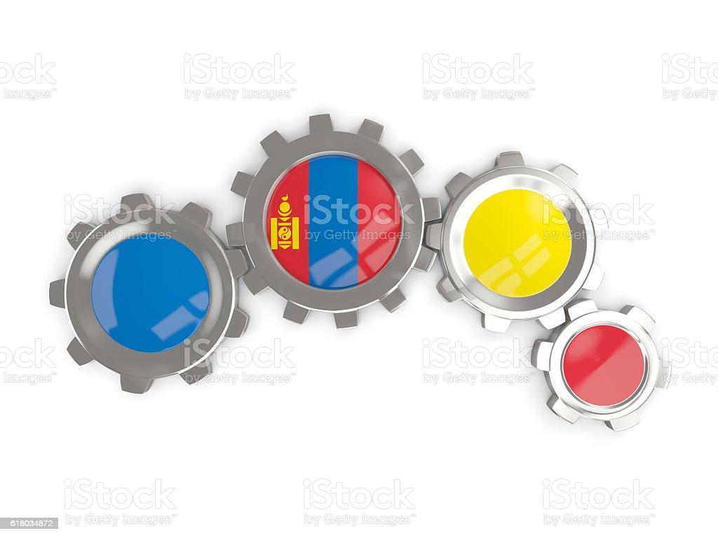 Flag of mongolia, metallic gears stock photo