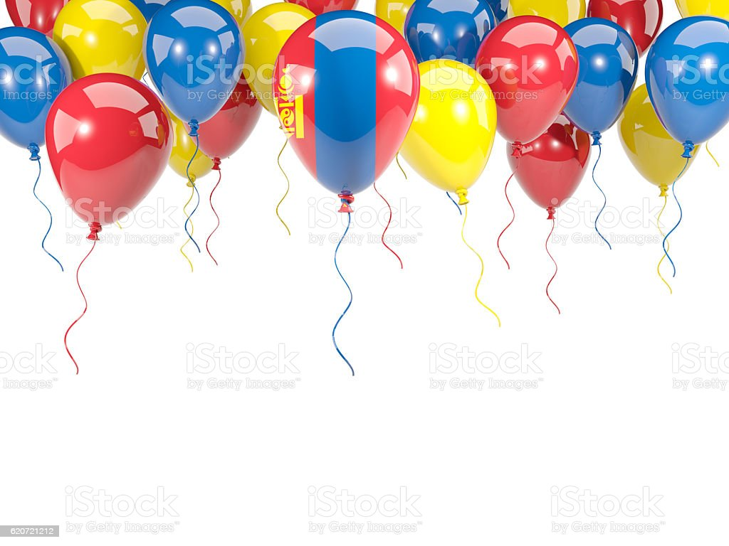 Flag of mongolia on balloons stock photo