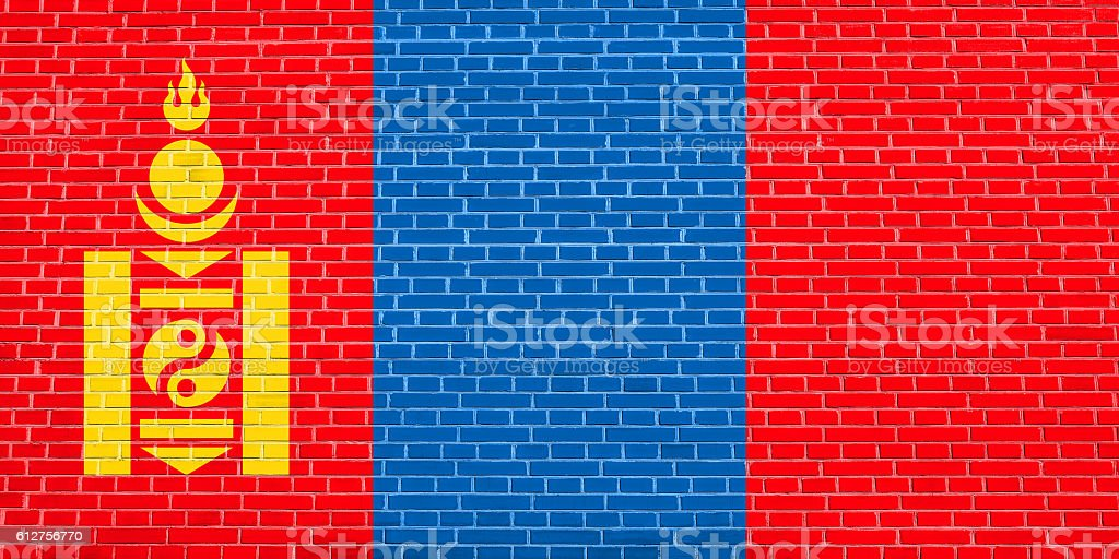 Flag of Mongolia on brick wall texture background stock photo