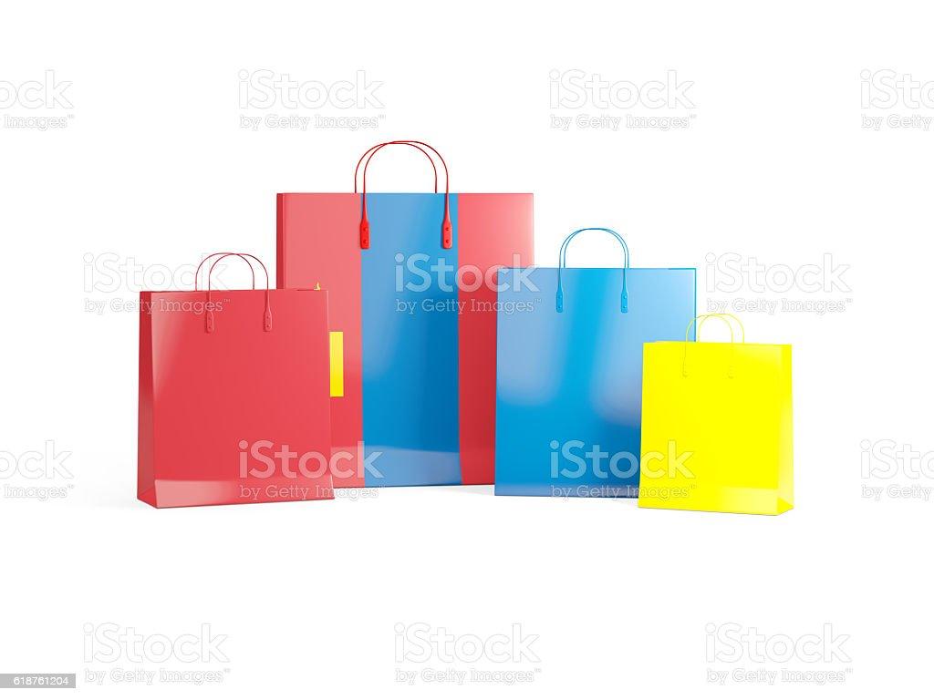 Flag of mongolia on shopping bags stock photo