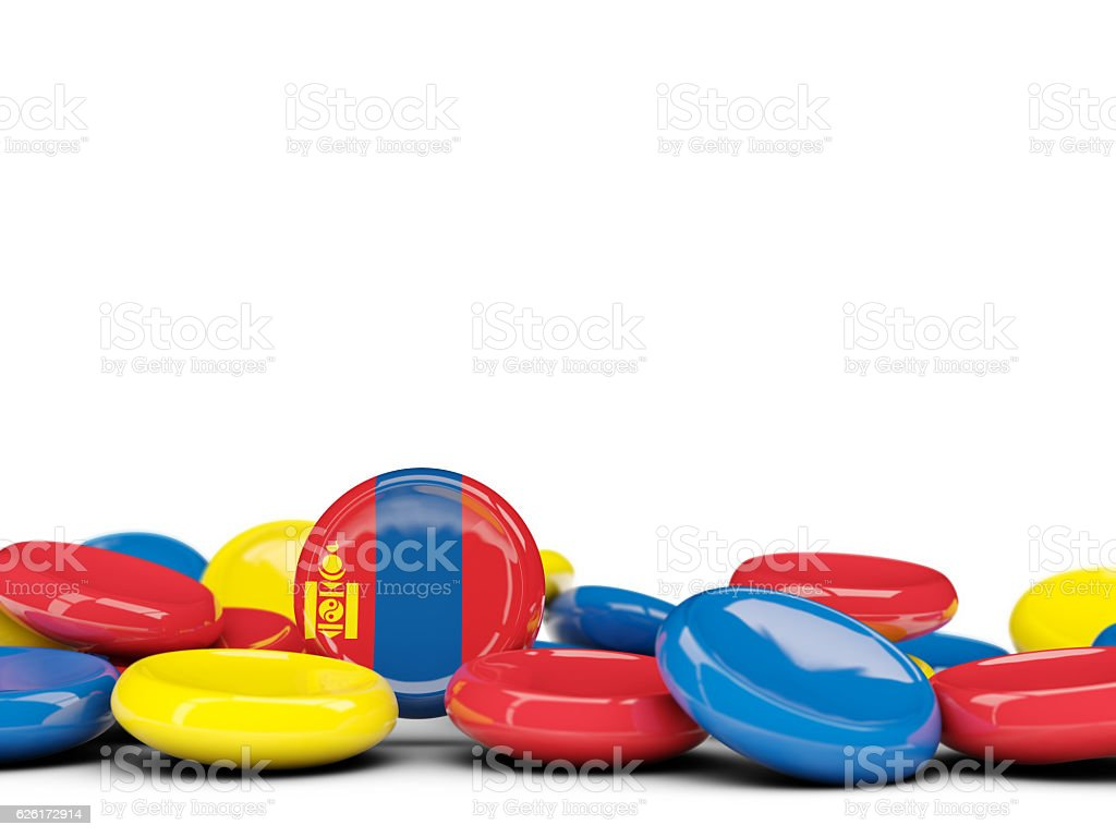 Flag of mongolia, round buttons stock photo