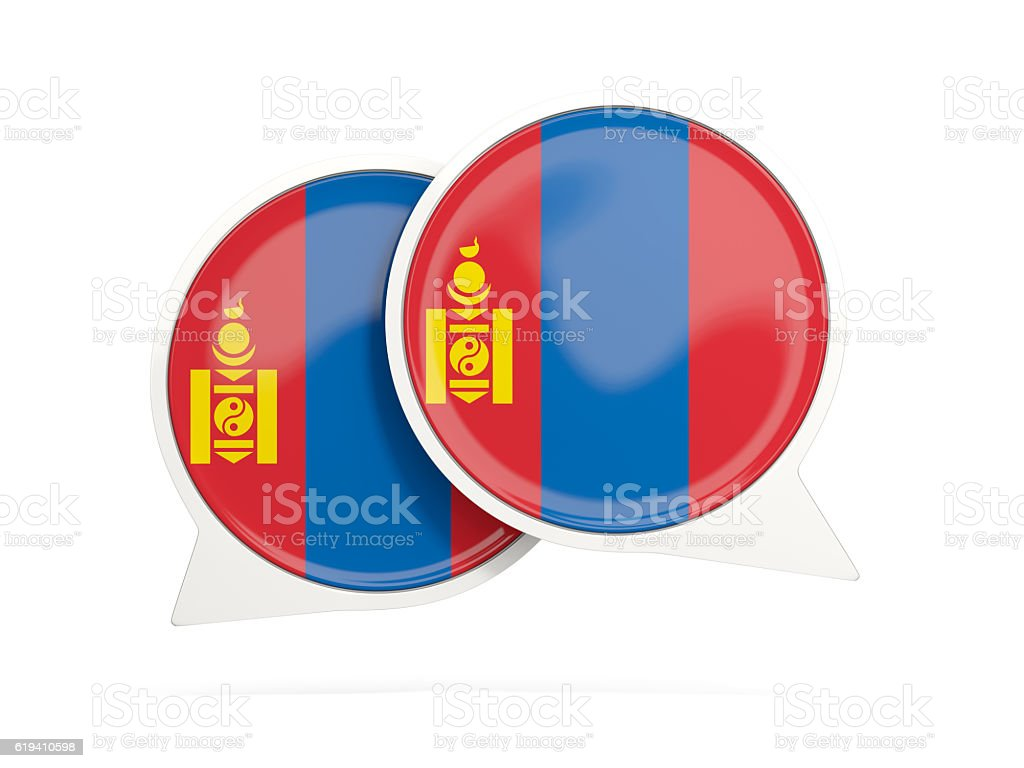 Flag of mongolia, round chat icon stock photo