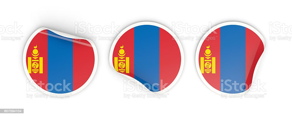 Flag of mongolia, round labels stock photo