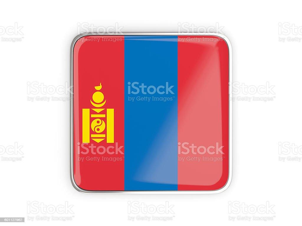 Flag of mongolia, square icon stock photo