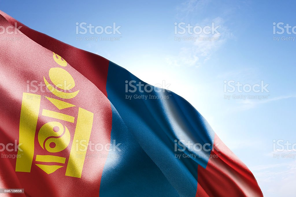 Flag of Mongolia waving in the wind stock photo